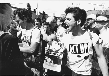 3.	Protesters from ACT UP in front of City Hall in New York in 1992. New York Daily News Archive. NY Daily News via Getty Images.